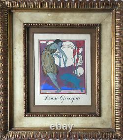 Tableau Superbe pochoir Art déco 1930 Danse Grecque par J. Roberts + cadre