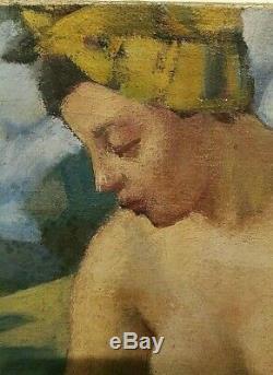 Tableau ancien HST Nu Féminin Créole Signé Gaston Marty bordelais Art Déco