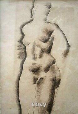 Tableau ancien Nu dessin à la sanguine signé Georges Artemoff 1892-1965 Art Déco