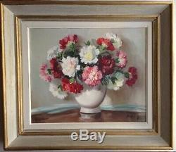 Tableau ancien Superbe Bouquet dillets Huile sur toile signée ANDRE M c1940
