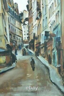 Tableau ancien Vue de rue 5e Quartier Latin Paris Cesar Bron Vlaminck art deco