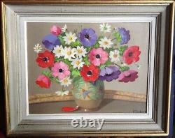 Tableau ancien XXe Italie Fleurs Vase Art Déco Huile toile signée Primo DOLZAN