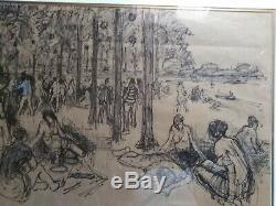 Tableau ancien dessin plage mer pins Hongrie modernisme art-déco Raumann