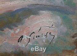 Tableau ancien oil painting 1900 ART DECO nu livre signé illisible recto verso