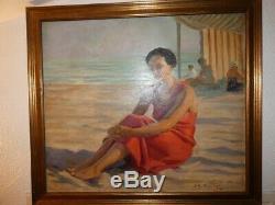 Tableau huile à la plage à Palavas signé jean aristide Rudel(1884-1959)