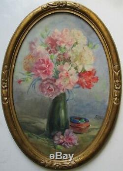 Tableau nature morte BOUQUET DILLETS FLEURS signé peinture aquarelle Art Déco