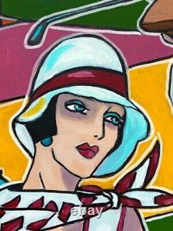 Tableau peinture Kris Milvy Art Déco Golf en Normandie Deauville 60 x 60 cm
