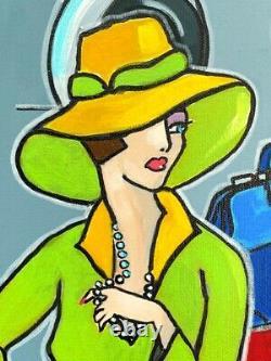 Tableau peinture Kris Milvy Art Déco Les Aviatrices aviation 80 x 80 cm