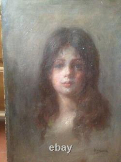 Tableau peinture portrait jeune fille impressionniste porte signature russe