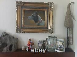 Tableau portrait de chien huile sur toile cadre baroque signé