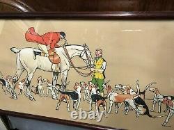 Thomas Barwick très belle gravure chasse à courre vènerie encadrée acajou n°1