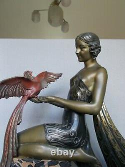 Très grande sculpture art deco 1930 LIMOUSIN 61cm x 46cm femme & oiseau statue