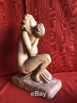 Ugo CIPRIANI IMPORTANTE STATUE ART DECO SCULPTURE EN TERRE CUITE SIGNÉE