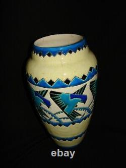 Vase ART DECO Céramique signée KERAMIS BELGIQUE Décor aux oiseaux
