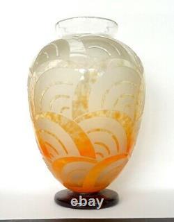 Vase Art Deco Art Nouveau 1925 Signe Le Verre Francais Schneider Charder