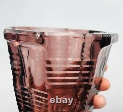 Vase Cristal Czech Art Déco Art Glass Moser Bohème Signé Tchécoslovaquie