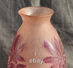 Vase Signé Legras Dégagé A Lacide Art Deco ET givré H 31 cm
