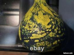Vase ancien pate de verre art deco signe a delatte NANCY H 36.5 cm
