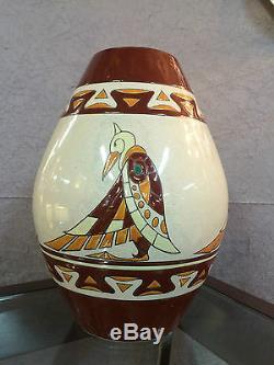 Vase en céramique émaillé style art deco a décor d'oiseaux (signé et numeroté)