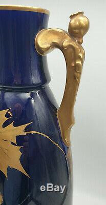 Vases Art Deco Faïence De Tours Décor Doré Bleu De Sévres 1925 Signé Peaudecerf