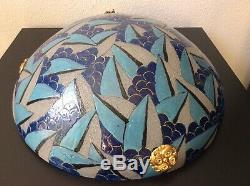 Vasque suspension verre soufflé granité émaillé signé A. Mazoyer Art Déco