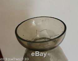 Verame Legras gros vase Art Deco verre dégagé à l'acide, non signé. 36cm