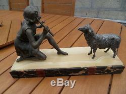 Vintage Statue art nouveau deco Fille a la flute au mouton signé by Geo Maxim