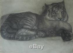 Yvonne Hanriot Giraud Dessin Tigre Panthere Art Deco Animalier Fauve Lion Lionne